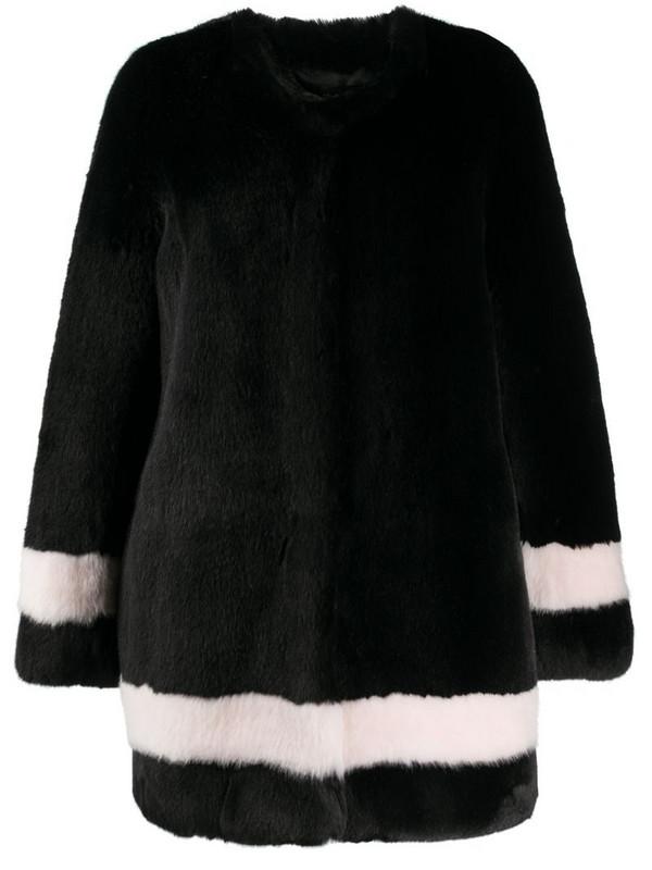 La Seine & Moi Petra faux-fur striped coat in black