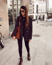 jacket,blazer,double breasted,stripes,red boots,DrMartens,black skinny jeans,black top,brown bag