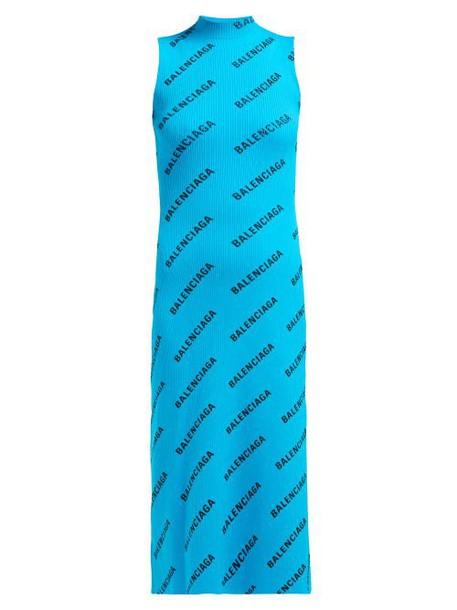 Balenciaga - Logo Print Ribbed Wrap Midi Dress - Womens - Blue Multi