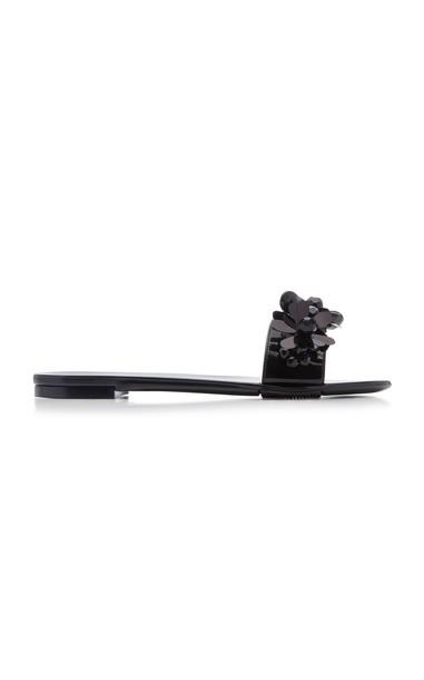 Simone Rocha Floral-Embellished Rubber Slides Size: 37 in black