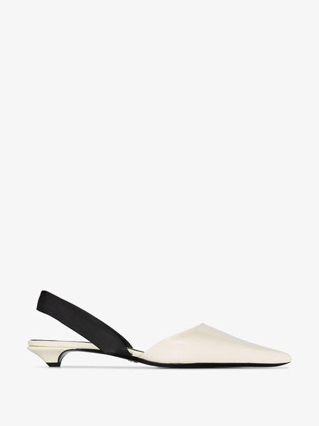 Proenza Schouler Patent pointed toe strappy slippers in white