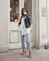 top,white shirt,straight jeans,black sandals,black leather jacket,black bag