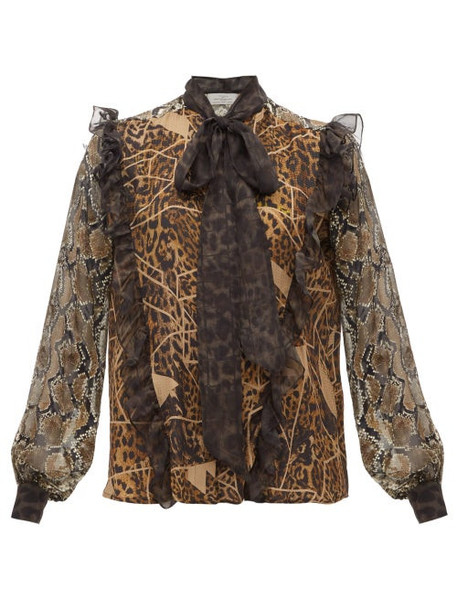 Preen By Thornton Bregazzi - Blakely Leopard And Snake Print Pussy Bow Blouse - Womens - Leopard