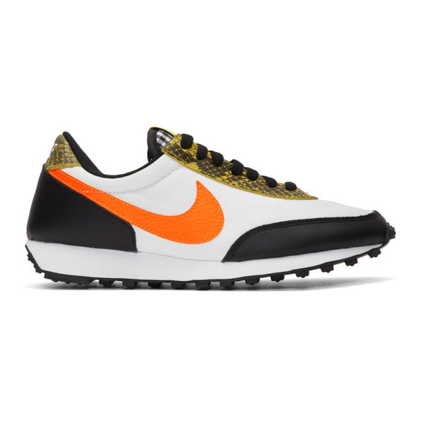Nike White and Orange Daybreak QS Low Sneakers