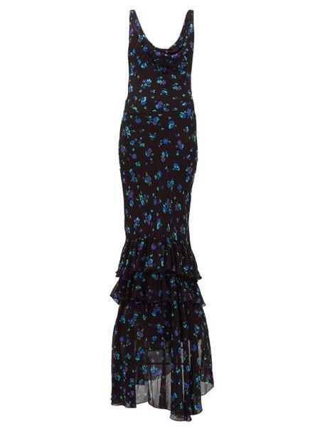 Rat & Boa - Santiago Floral-print Ruffled-hem Chiffon Dress - Womens - Black Multi