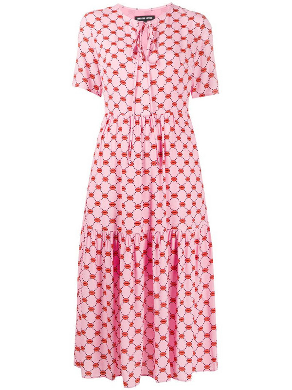 Markus Lupfer Carter lip print tiered style dress in pink