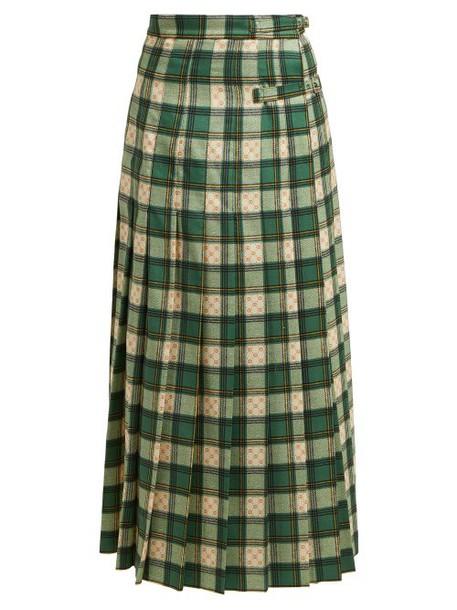 Gucci - Gg Tartan Wool Maxi Skirt - Womens - Green Multi