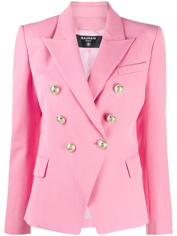 Balmain double-breasted peak-lapel blazer in pink
