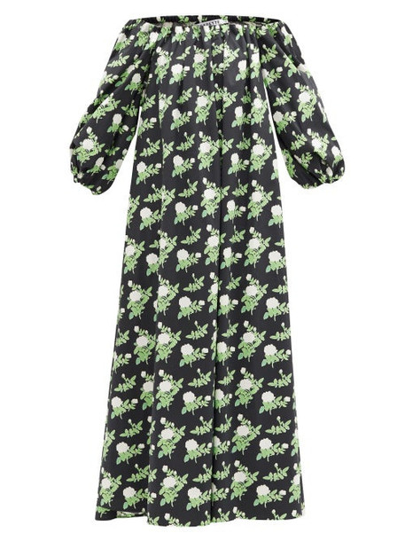 Bernadette - Bobby Off-the-shoulder Floral-print Cotton Dress - Womens - Black Print