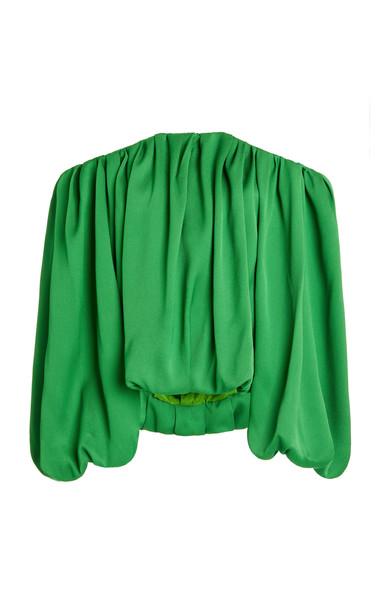 Hellessy Valerie Satin Piqué Off-The-Shoulder Top in green