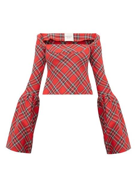 A.w.a.k.e. Mode - Artemon Bell Sleeve Tartan Twill Top - Womens - Red