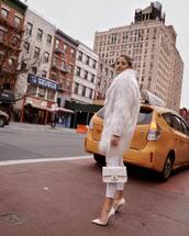 coat,faux fur coat,white coat,pumps,white jeans,skinny jeans,white bag,chanel bag