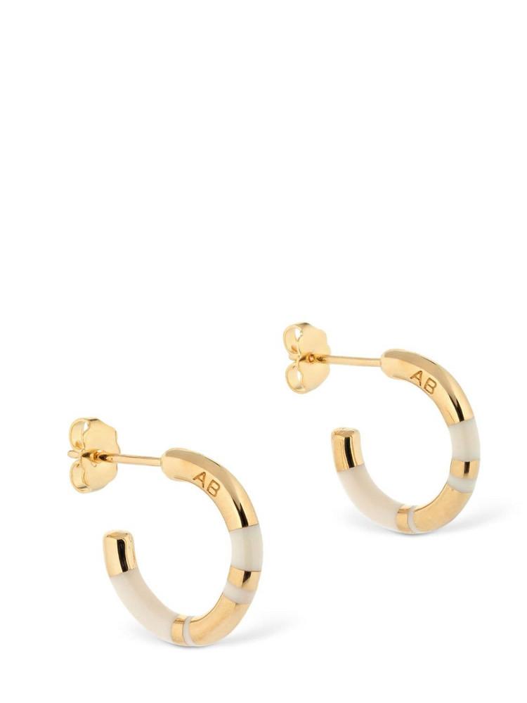 AURELIE BIDERMANN Small Positano Hoop Earrings in gold / ivory