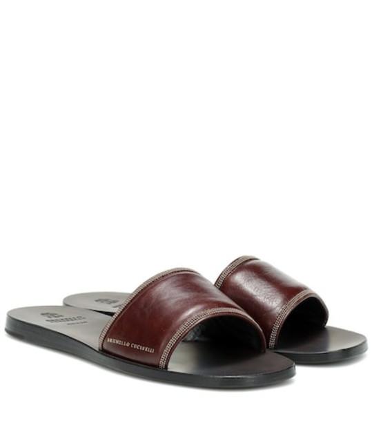 Brunello Cucinelli Embellished leather slides in brown