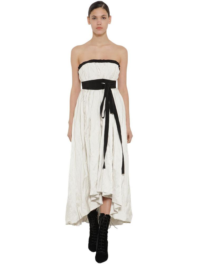 BROCK COLLECTION Asymmetric Strapless Poplin Dress in white