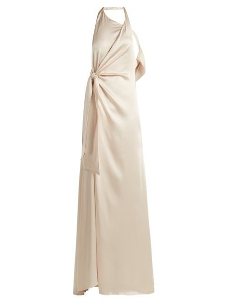 Jonathan Simkhai - Halterneck Satin Gown - Womens - Nude