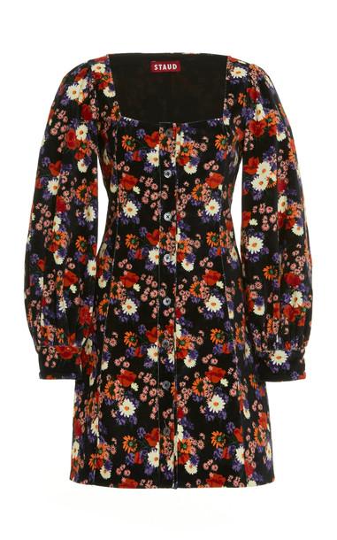 Staud Chandler Cotton Button Down Mini Dress in black