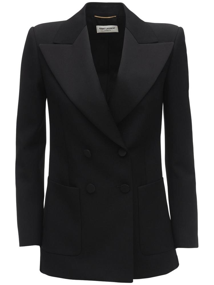SAINT LAURENT Satin & Wool Short Sleeve Blazer in black