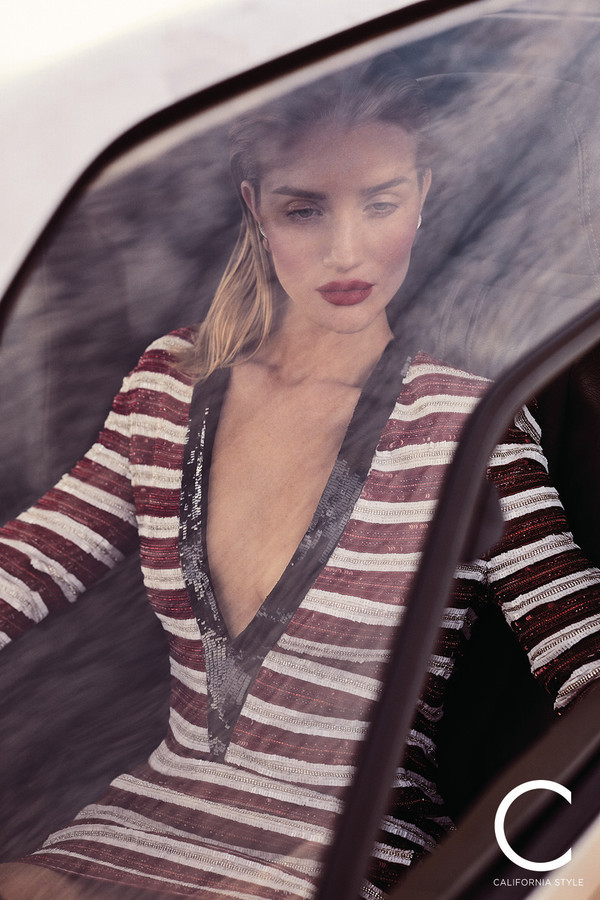 dress stripes striped dress celebrity rosie huntington-whiteley model sequins sequin dress mini dress plunge dress editorial deep v