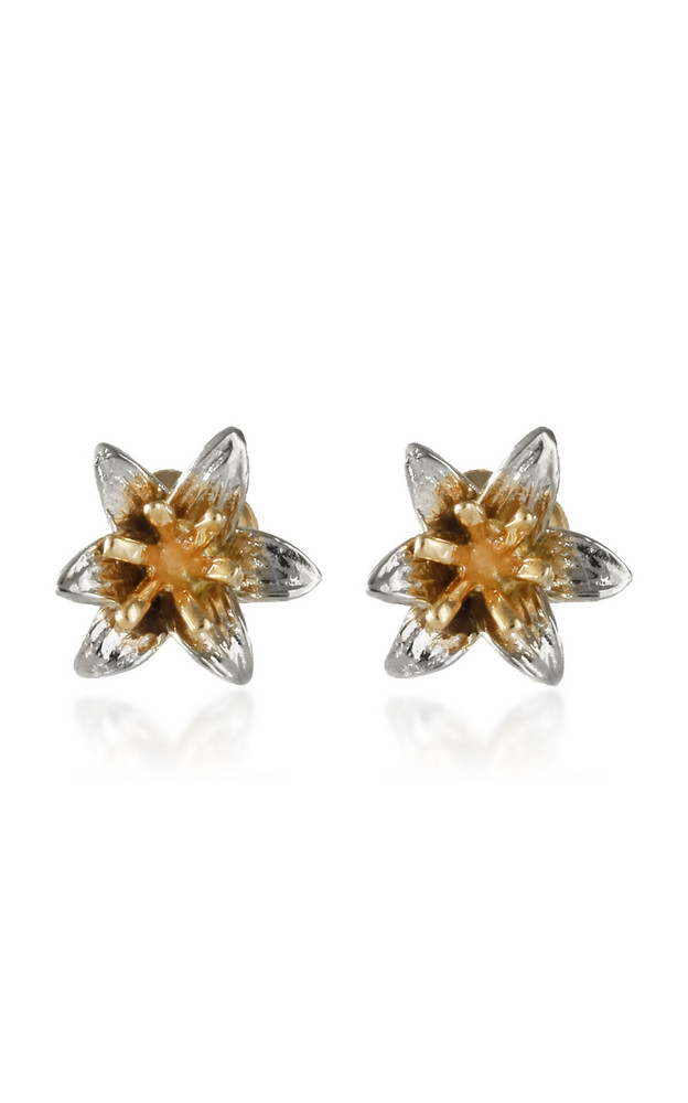 Bernard James Lily 14K Yellow and White Gold Earrings in multi