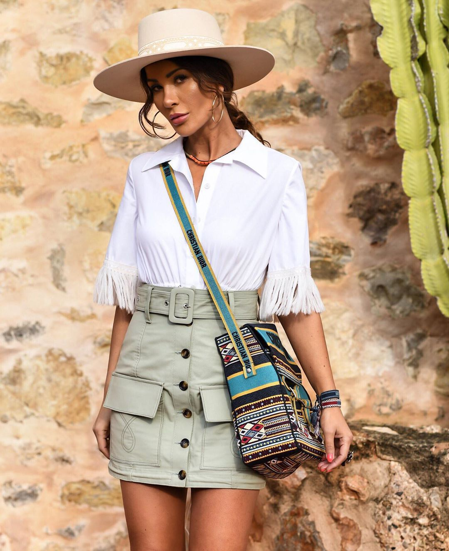 skirt cargo skirt high waisted skirt dior bag white shirt short sleeve hat