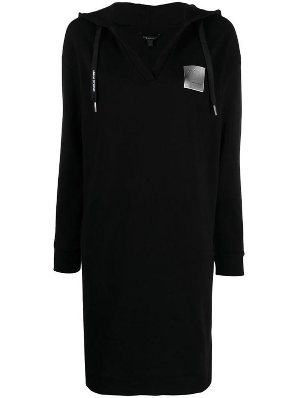Armani Exchange logo-patch hoodie dress in black