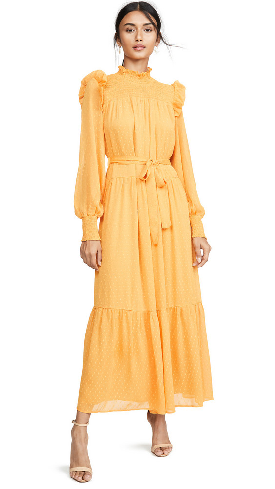 ENGLISH FACTORY Swiss Dot Smocked Maxi Dress in yellow