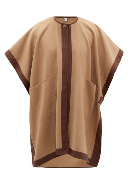 Burberry - Pycombe Leather-trimmed Cashmere Cape - Womens - Camel
