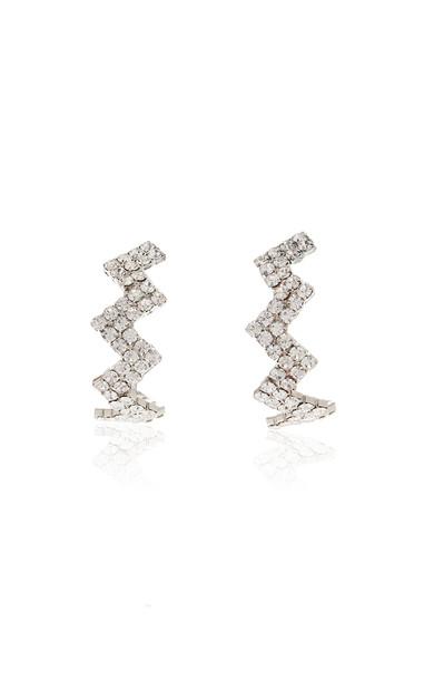 Area Glass Crystal Zig Zag Hoop Earrings in silver