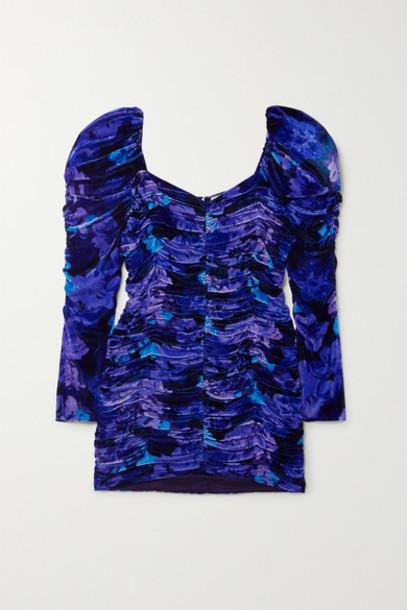 Magda Butrym - Tefe Ruched Floral-print Velvet Mini Dress - Blue