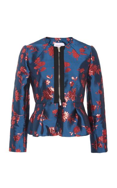 Carolina Herrera Zip-Detailed Satin-Jacquard Peplum Jacket in blue