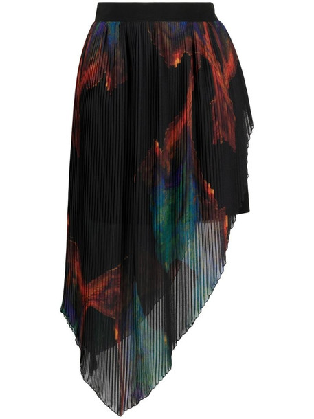 Just Cavalli asymmetrical pleated skirt in black