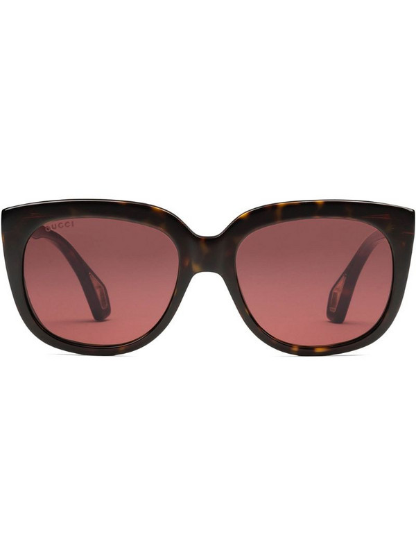 Gucci Eyewear Square-frame sunglasses with blinkers in brown