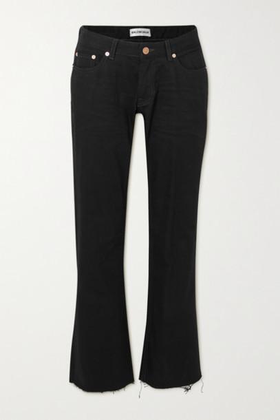 Balenciaga - Distressed Low-rise Flared Jeans - Black