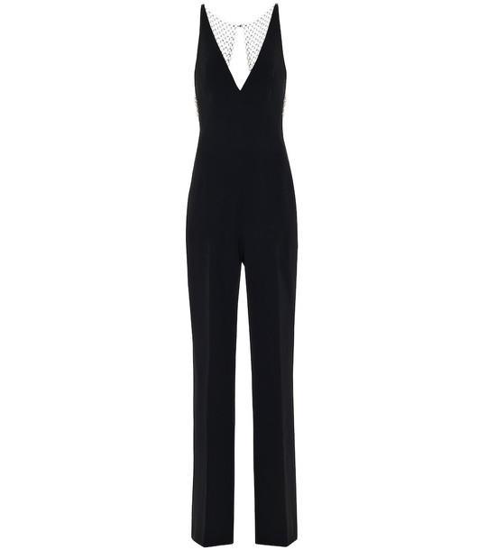 Stella McCartney Embellished stretch-crêpe jumpsuit in black