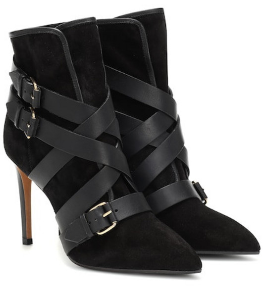 Balmain Jakie suede ankle boots in black