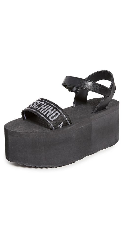 Moschino Ribbon Platform Sandals in black / white