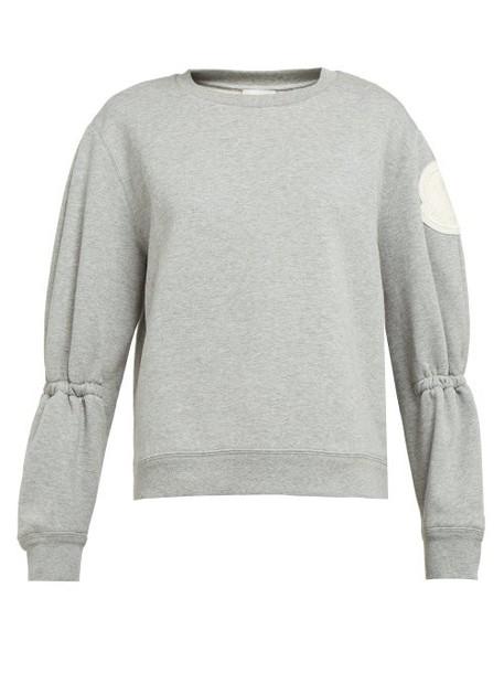 Moncler - Gathered Sleeve Cotton Blend Jersey Sweatshirt - Womens - Light Grey