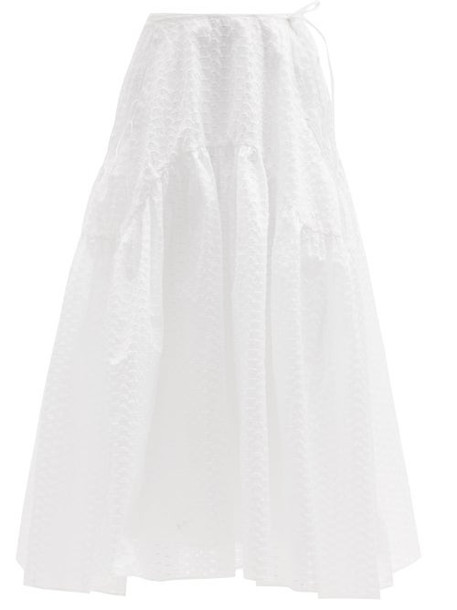 Cecilie Bahnsen - Lilly Gathered Fil-coupé Skirt - Womens - White