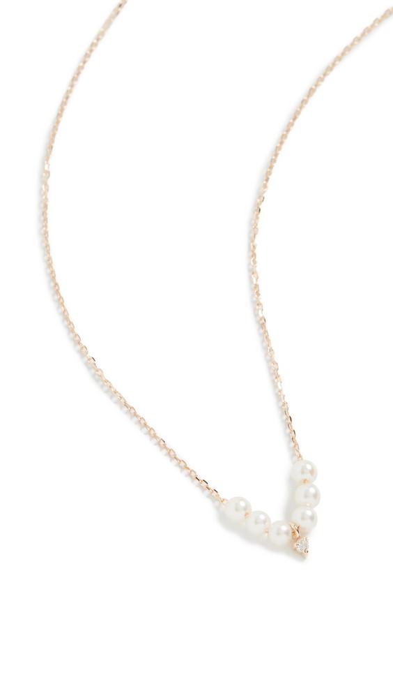 Mizuki Six Pearl Necklace with Diamond in gold