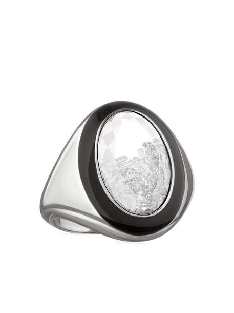 Moritz Glik palladium shaker diamond and enamel signet ring in silver