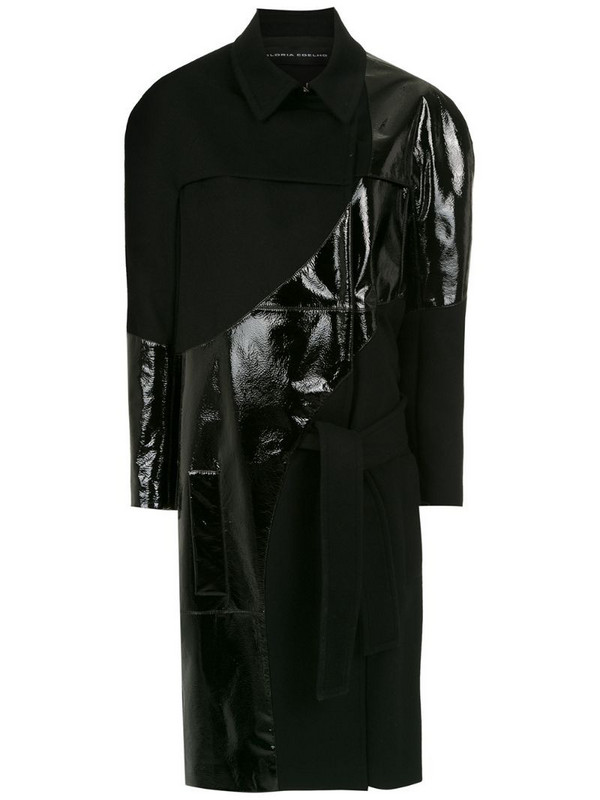 Gloria Coelho lace up midi coat in black