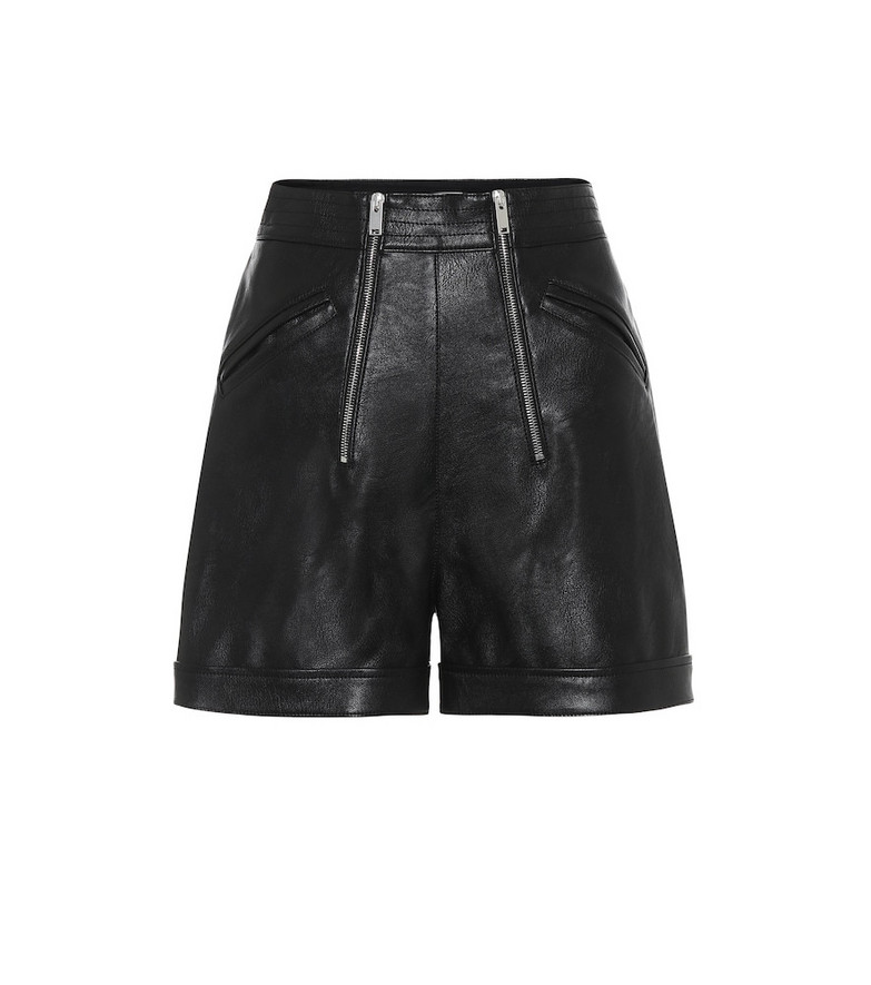 Stella McCartney Faux-leather high-rise shorts in black