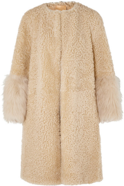 Prada - Teddy Oversized Goat Hair-trimmed Shearling Coat - Camel