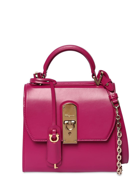 SALVATORE FERRAGAMO Small Boxyz Leather Shoulder Bag in red