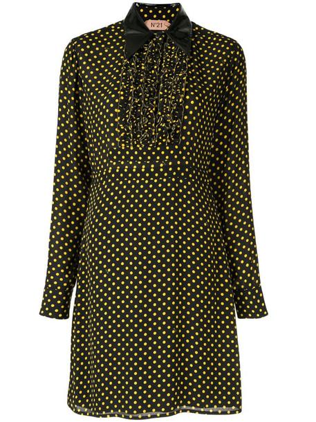 Nº21 polka dot shirt dress in black
