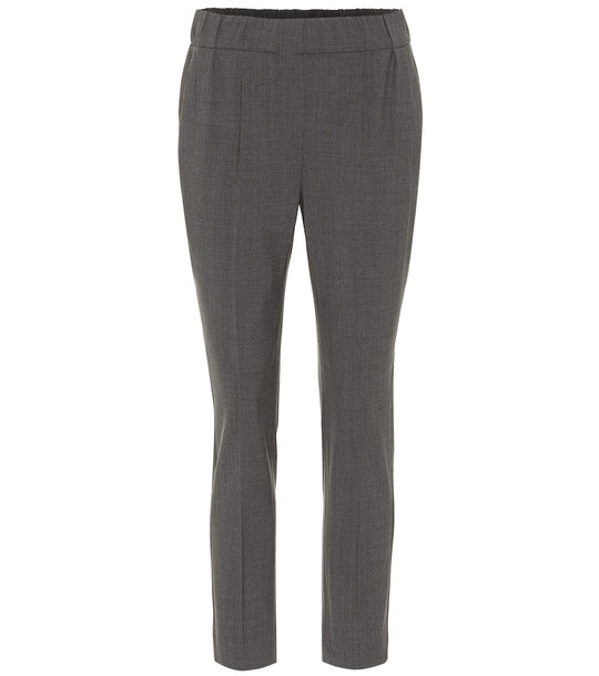 Brunello Cucinelli Cropped wool-blend pants in grey