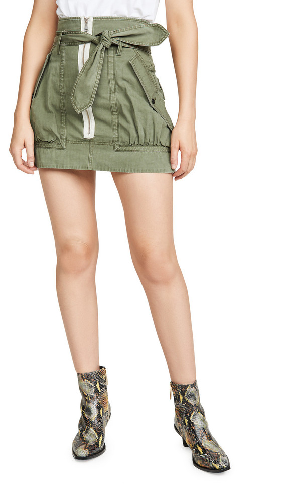 Marissa Webb Hannah Herringbone Canvas Skirt in green