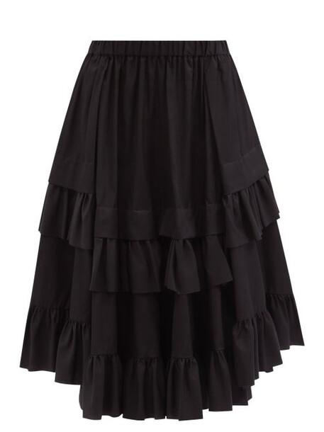 Comme Des Garçons Comme Des Garçons - Asymmetric-tiered Cotton Midi Skirt - Womens - Black