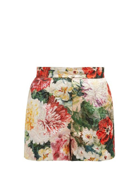 Dolce & Gabbana - Floral Print Brocade Shorts - Womens - Ivory Multi